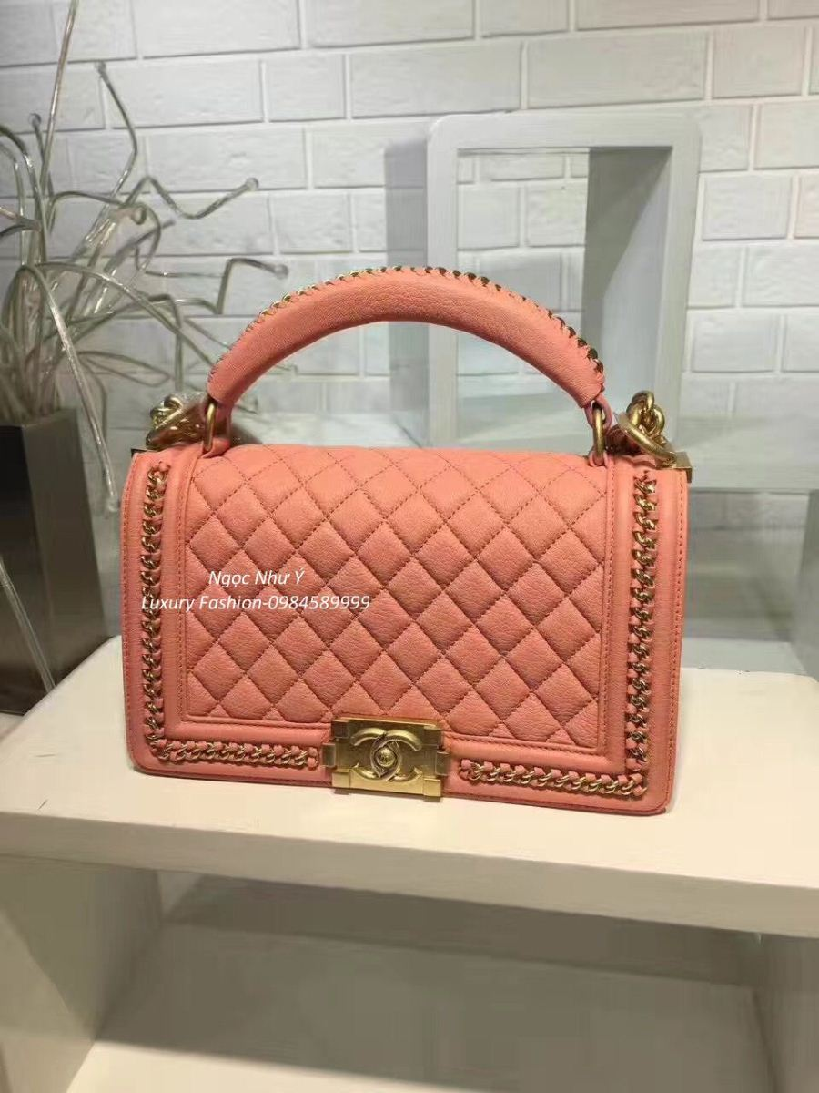 3b36e1c6e256 Chanel Boy Medium with Handle in Calfskin + Ruthenium Metal Orange Pink