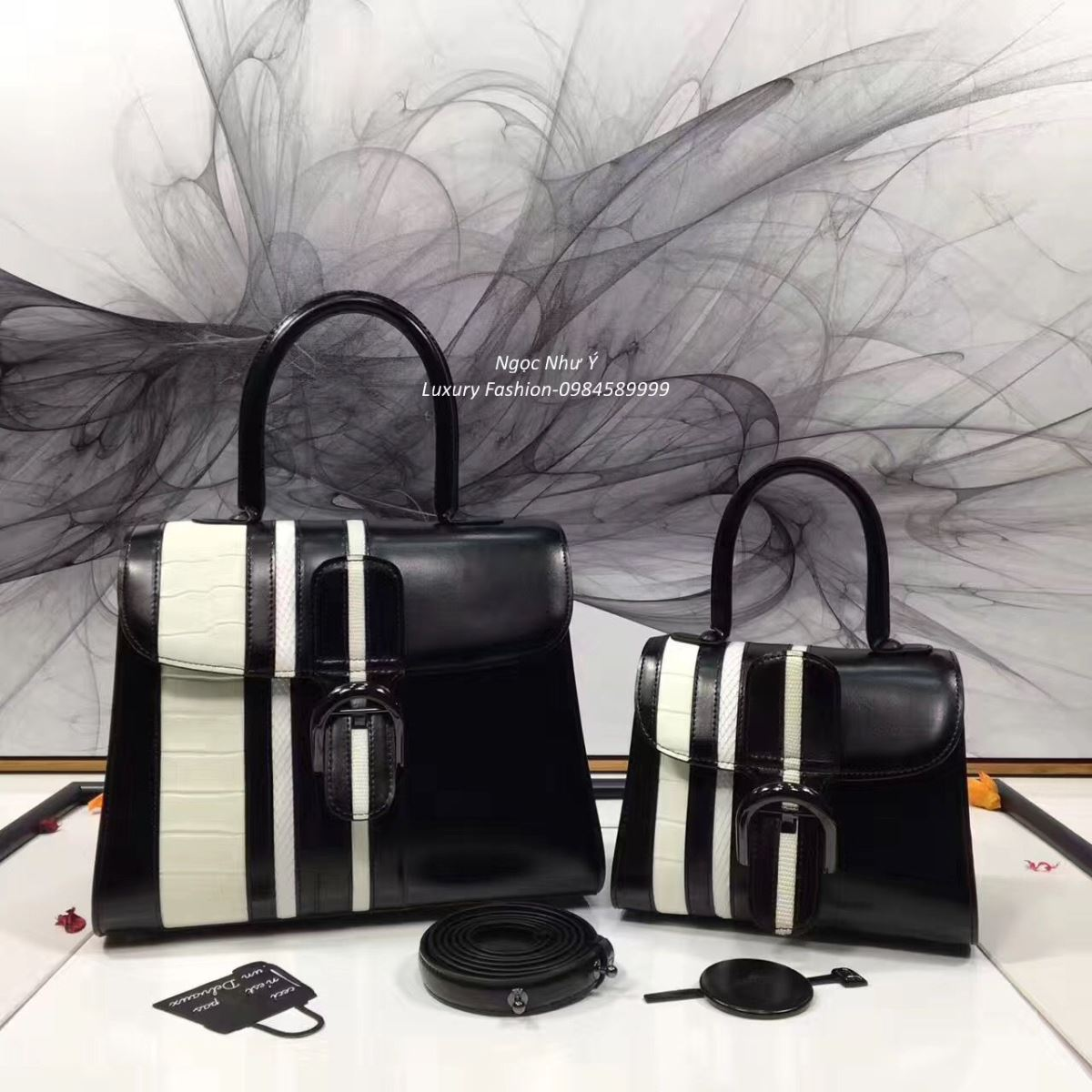 Túi Delvaux Brillant da Sporty Stripes Exotic màu đen