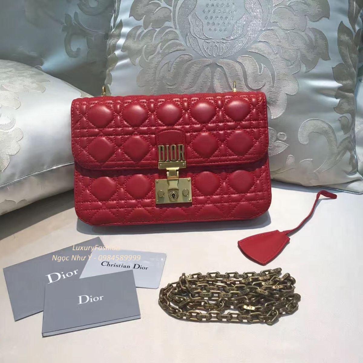 277b0cf38699 Dioraddict Flap Bag Red Cannage Lambskin