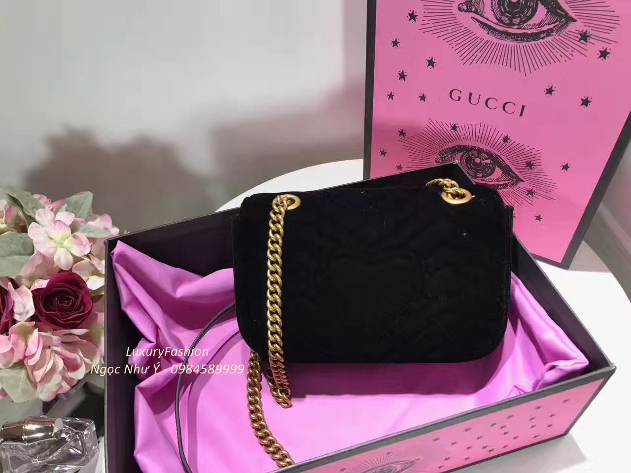 Túi Gucci GG Marmont Embroidered Velvet