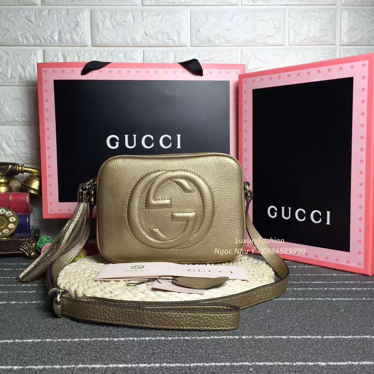 Túi Gucci Soho Leather Disco màu vàng gold
