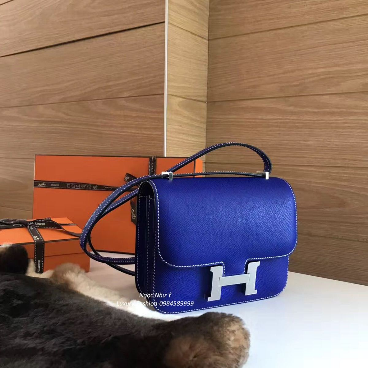 Hermes Constance Mini 18 Epsom Blue Electric