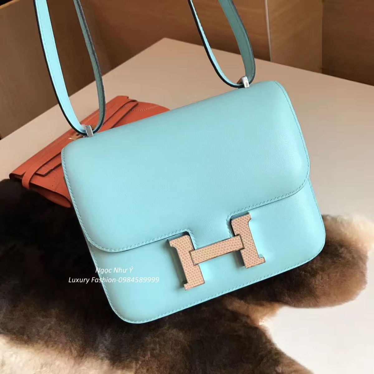 Túi Hermes Constance Mini 18 Swift màu Blue Atoll