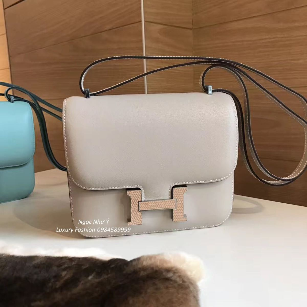 Túi Hermes Constance Mini 18 Swift màu Light Grey