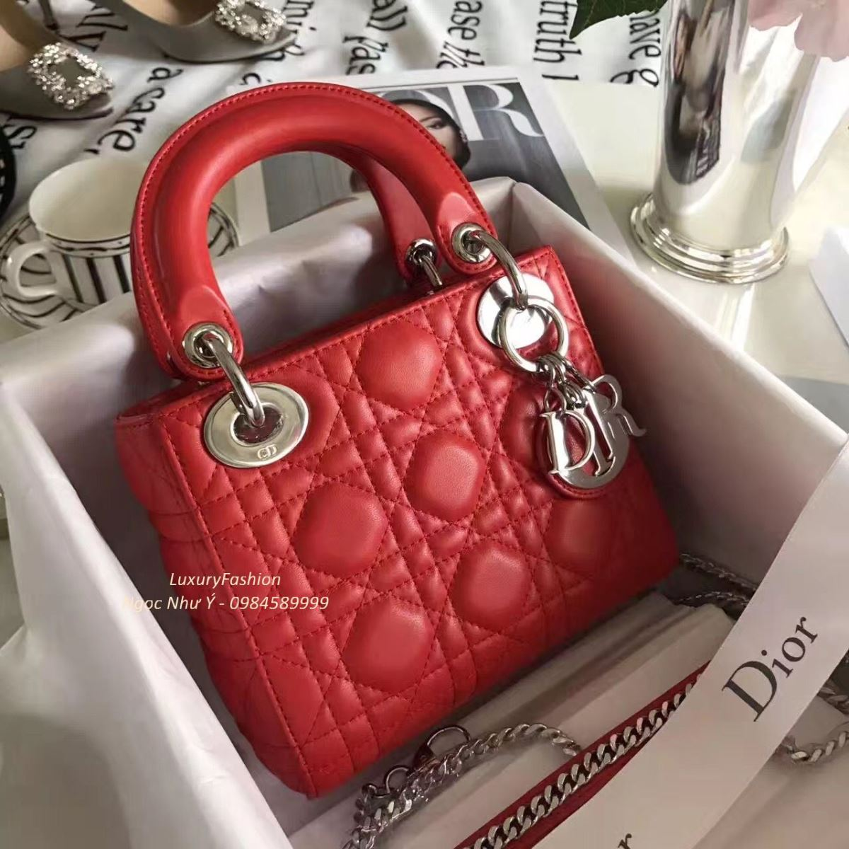 41ab57bed5 Mini Lady Dior Bag Red Lambskin