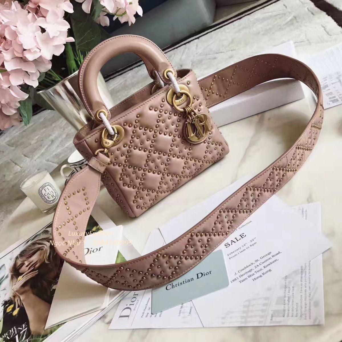 3f5a3130e77f Supple Lady Dior Mini Bag Studded Lambskin